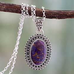 Sterling Silver 'Violet Enigma' Composite Turquoise Necklace (India)