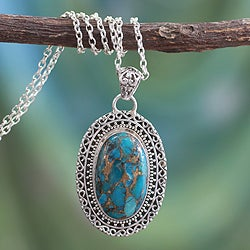 Sterling Silver 'Blue Blossom' Composite Turquoise Necklace (India)