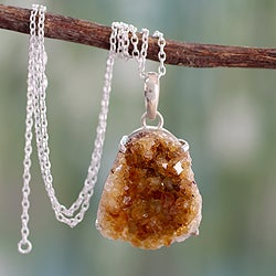 Sterling Silver 'Jaipur Jazz' Citrine Necklace (India)