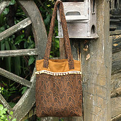 Handcrafted Cotton 'Golden Earth Paths' Medium Shoulder Bag (Thailand)
