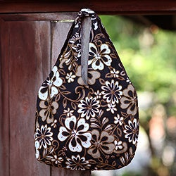 Cotton 'Tropical Bouquet' Beaded Large Shoulder Bag (Indonesia)