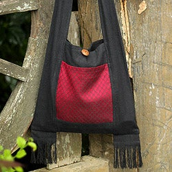 Handcrafted Cotton 'Crimson Lotus' Medium Sling Bag (Thailand)