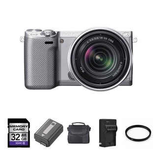 Sony Alpha NEX-5R Mirrorless Digital Camera with 18-55mm Lens and 32GB Bundle