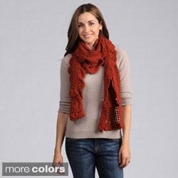 Saro Women's Ruffled Crochet Design Scarf