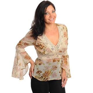 Stanzino Women's Plus Bell Sleeve Floral Top