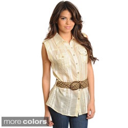 Stanzino Women's Sleeveless Button Down Shirt with Braided Belt