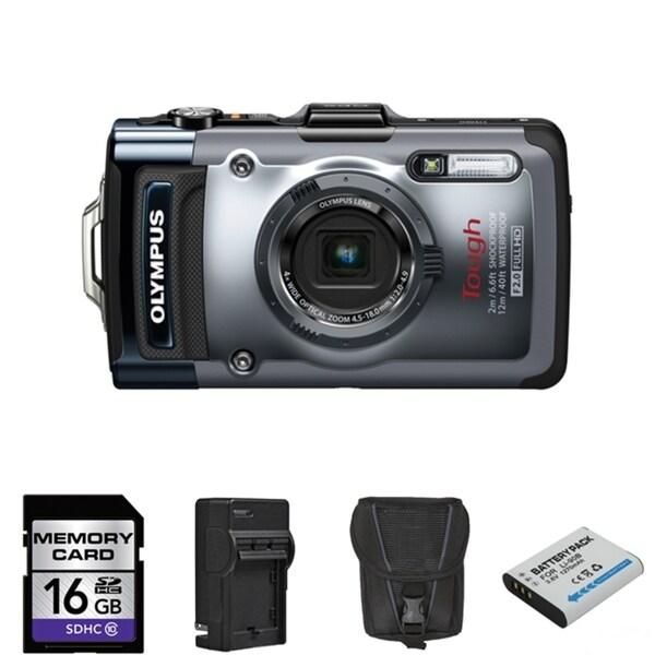 Olympus Tough TG-1 iHS 12MP Waterproof Digital Camera with 16GB Bundle (Refurbished)