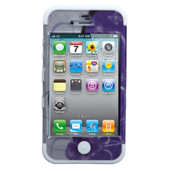 INSTEN Petunia/ White TUFF Hybrid Phone Case Cover for Apple iPhone 4/ 4S