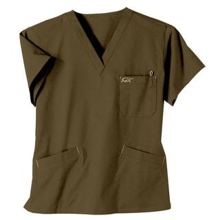 IguanaMed Women's Sienna Brown 3-Pocket Scrub Top