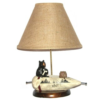 Black Bear Rowing a Canoe 1-light Table Lamp
