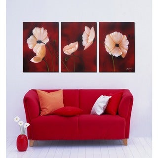 'Passion Flower' Gallery Wrapped Hand Painted Canvas 3-piece Art Set