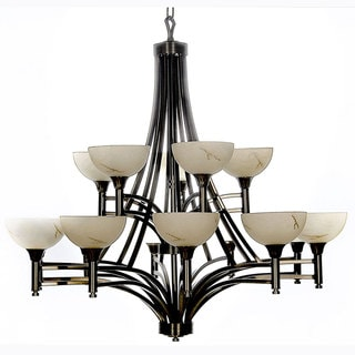 Luxor Brushed Steel Entryway 15-light Chandelier