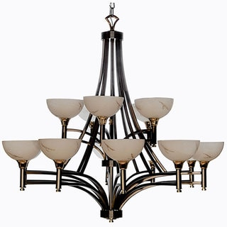 Luxor Brushed Steel and Gold 15-light Chandelier