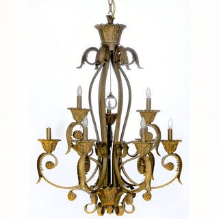 Stephano 9-light Camel Beige Antique Gold 2-tier Chandelier