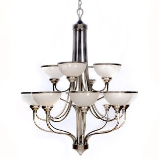 Windsor Brushed-Steel 12-Light Chandelier with Alabaster Glass Shades