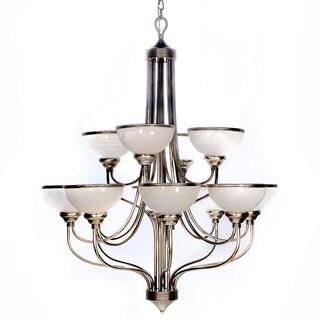 Windsor Brushed-Steel 12-Light Chandelier with Alabaster Glass Shades