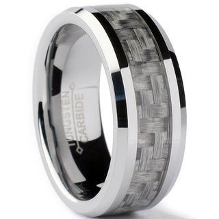 Tungsten Carbide Men's Grey Carbon Fiber Inlay Ring (8 mm)