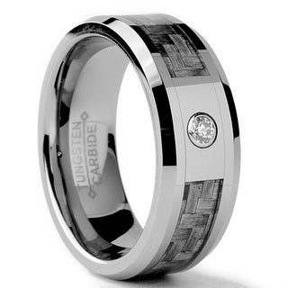 Tungsten Carbide Men's CZ and Grey Carbon Fiber Inlay Ring (8 mm)