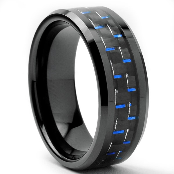 Tungsten Carbide Men s Black and Blue Carbon Fiber Inlay Ring 8 mm 15