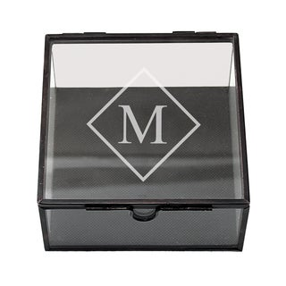 Custom Engraved Square Glass Jewelry Box