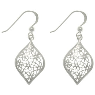 Carolina Glamour Collection Silver Flower-filled Earrings