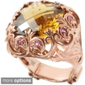 Dallas Prince Gold over Silver Whiskey Quartz and Pink Tourmaline Ring