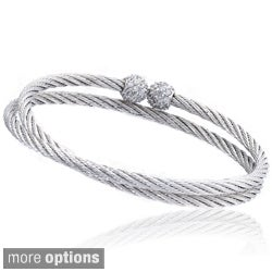Riccova Metal Cubic Zirconia Ball End Cable Wrap Bracelet