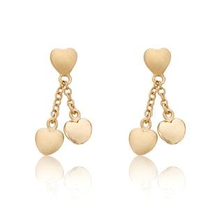 Little Miss Twin Stars 14k Gold Overlay Lariat Heart Earrings