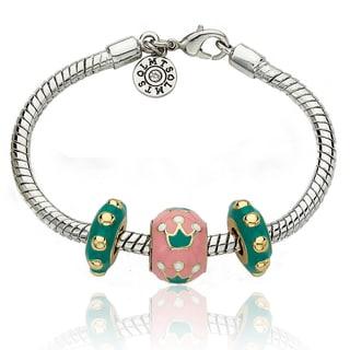 Little Miss Twin Stars Silvertone Children's Enamel Slider Bead Bracelet