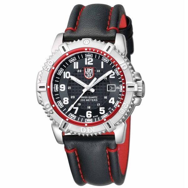 Luminox Men's 'Mariner 6265' Leather Strap Watch