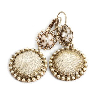 Sweet Romance Mesh Covered Crystal Earrings