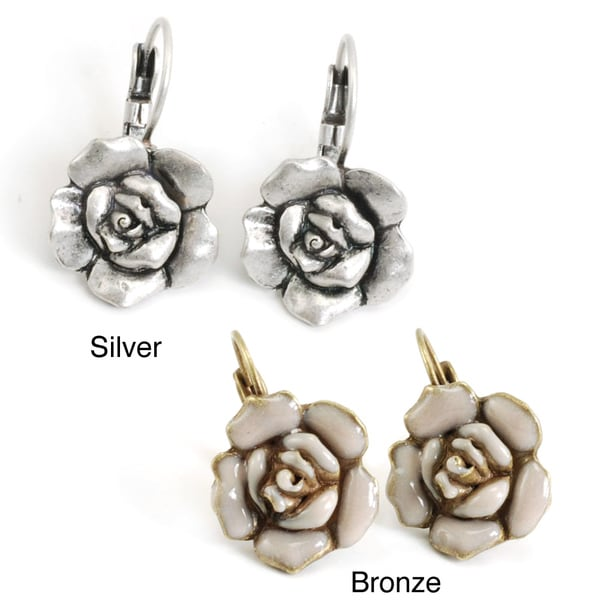 Sweet Romance Pewter Camellia Rose Earrings