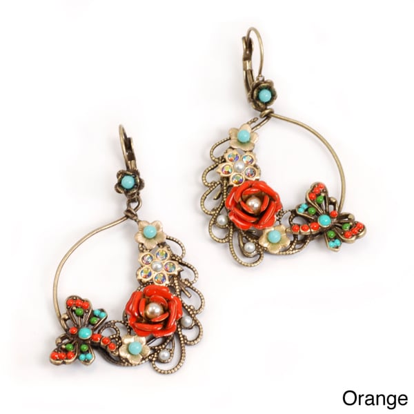 Sweet Romance Dragonfly and Flower Hoop Earrings