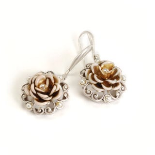 Sweet Romance Heirloom Rose Pinwheel Earrings