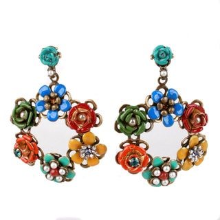 Sweet Romance Bronzetone Faux Pearl and Enamel Flower Wreath Earrings