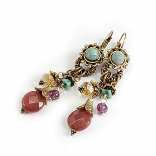 Sweet Romance Rustic Southwest Turquose and Carnelian Earrings