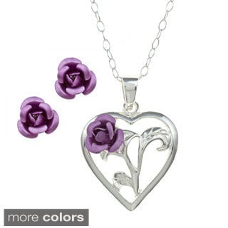 Sunstone Sterling Silver Heart and Purple Rose Jewelry Set