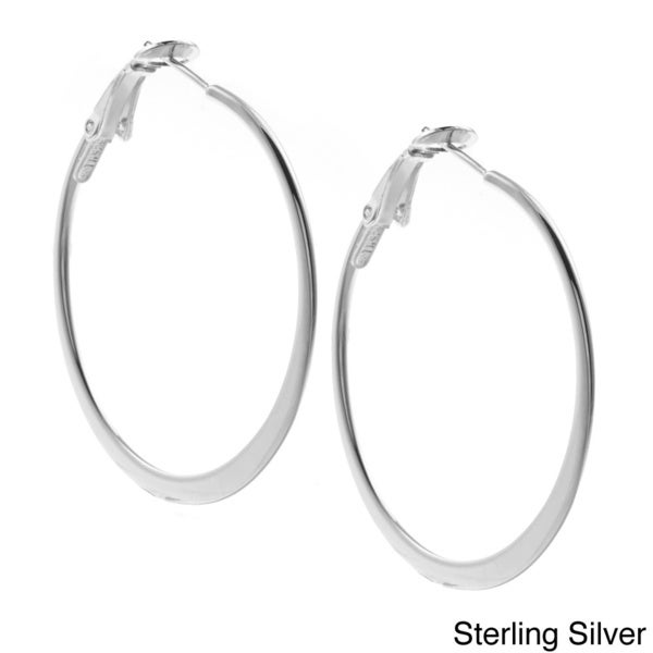 Sunstone Sterling Silver Large Flat Hoop Earrings
