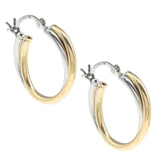 Sunstone Sterling Silver Two-tone Double Tube Hoop Earrings