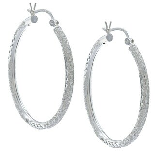 Sunstone Sterling Silver Mixed Texture Hoop Earrings