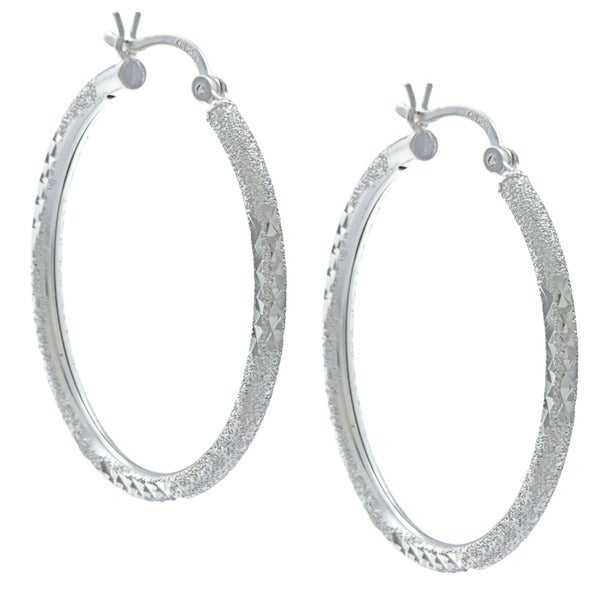 Sunstone Sterling Silver Mixed Texture Hoop Earrings