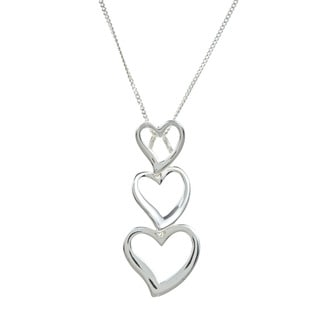 Sunstone Sterling Silver Triple Heart Necklace