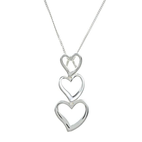 Sunstone Sterling Silver Triple Heart Necklace