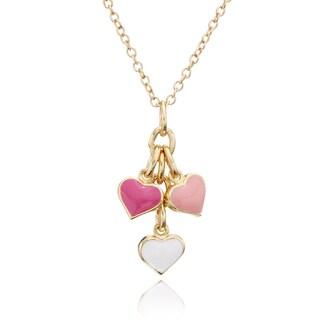 Little Miss Twin Stars 14k Goldplated Enamel Heart Cluster Necklace