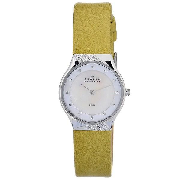Skagen Women's 635SSLGR Leather Collection Swarovski Yellow Strap Watch