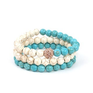 Pretty Little Style Rhinestone Turquoise Bracelet Set