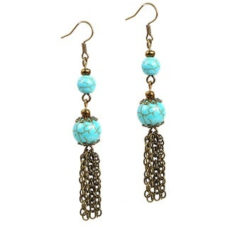 Pretty Little Style Antique Bronze Turquoise Tassel Earrings