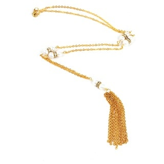 Pretty Little Style Goldtone Pearl Tassel Necklace