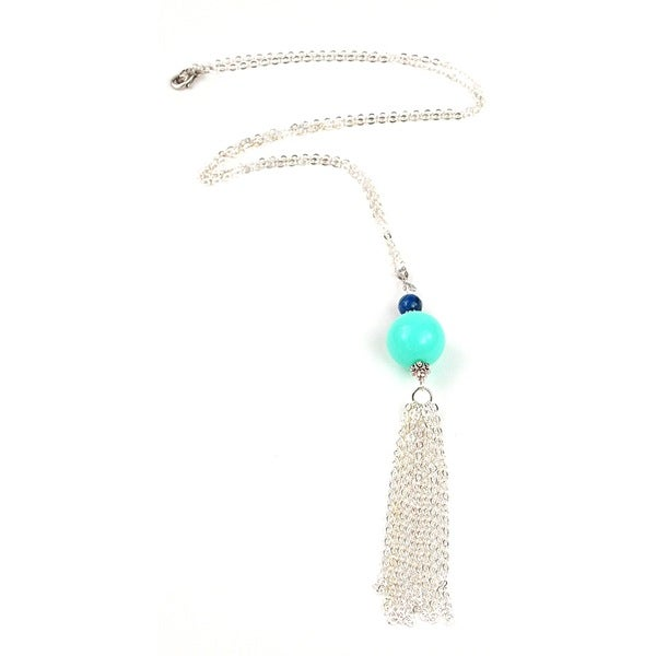 Pretty Little Style Silvertone Agate Tassel Necklace