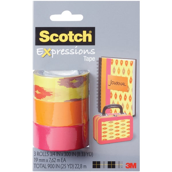 Scotch Expressions Tape Removable 3/Pkg-Sherbert/Orange/Pink